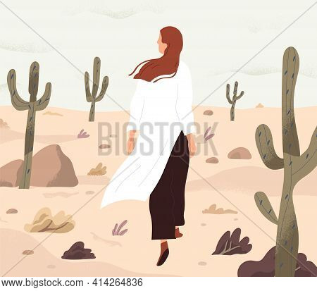 Person Feeling Lost And Alone, Wandering In Desert. Concept Of Even Boring Monotonous Life. Woman Wa