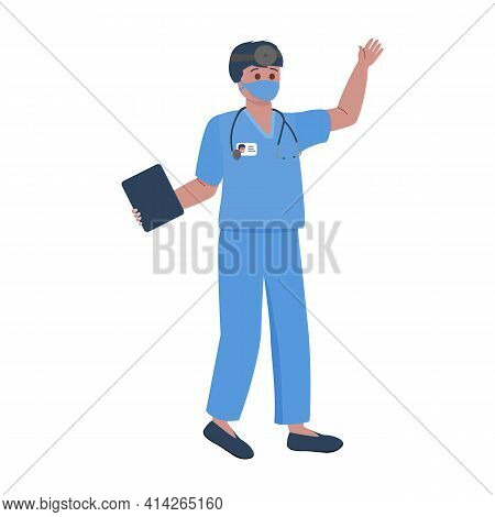 Doctor With Stethoscope And Reflector Vector Illustration. Coronavirus Pandemic Health Care.