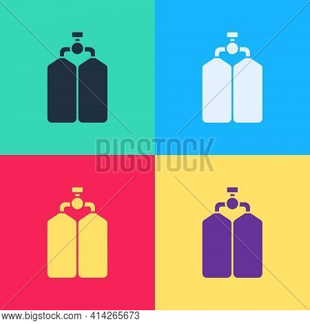 Pop Art Aqualung Icon Isolated On Color Background. Oxygen Tank For Diver. Diving Equipment. Extreme