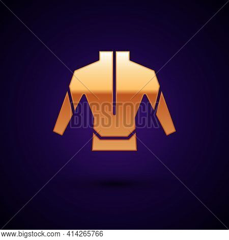 Gold Wetsuit For Scuba Diving Icon Isolated On Black Background. Diving Underwater Equipment. Vector