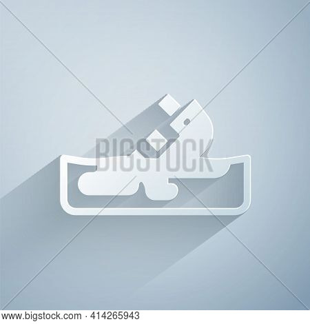 Paper Cut Wrecked Oil Tanker Ship Icon Isolated On Grey Background. Oil Spill Accident. Crash Tanker