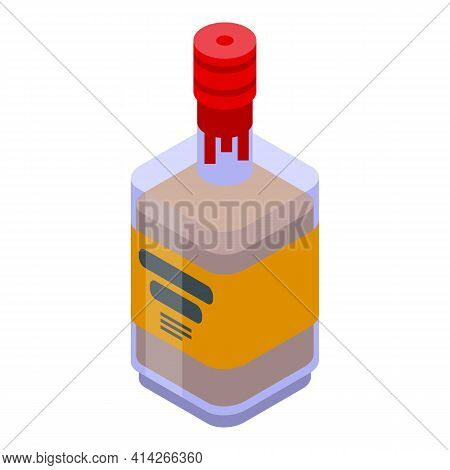 Bourbon Beverage Icon. Isometric Of Bourbon Beverage Vector Icon For Web Design Isolated On White Ba