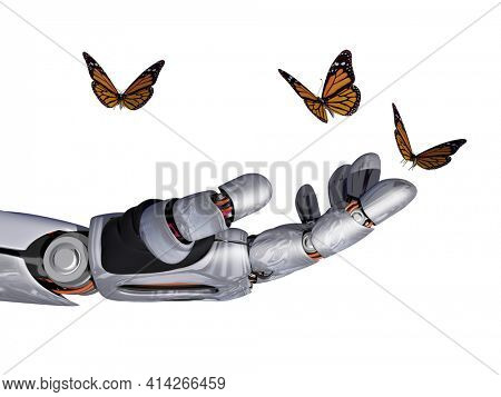 The mechanical arm and a butterfly.,3d render