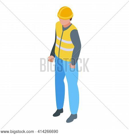 Highway Worker Icon. Isometric Of Highway Worker Vector Icon For Web Design Isolated On White Backgr