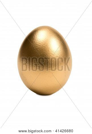 Golden Egg In Nest Isolated On White