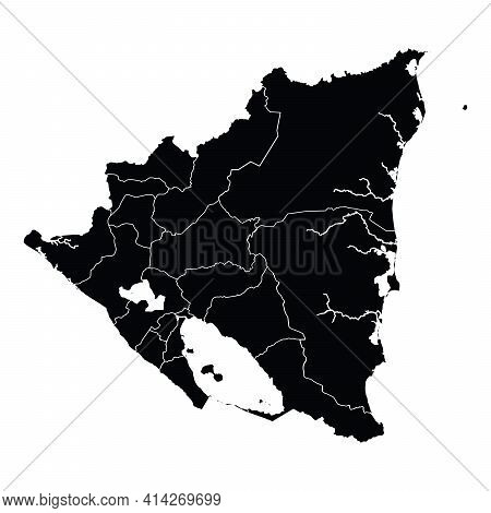 Nicaragua Country Map Vector With Regional Areas