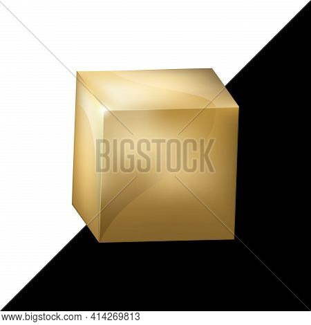 Golden Realistic Cube. Vector Metallic 3d Isometric Yellow Metal Box With Reflections On Black And W