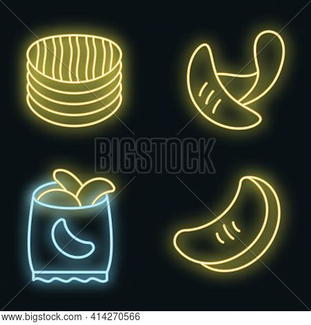 Chips Potato Icons Set. Outline Set Of Chips Potato Vector Icons Neon Color On Black