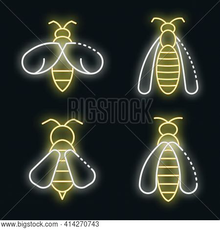 Wasp Icons Set. Outline Set Of Wasp Vector Icons Neon Color On Black
