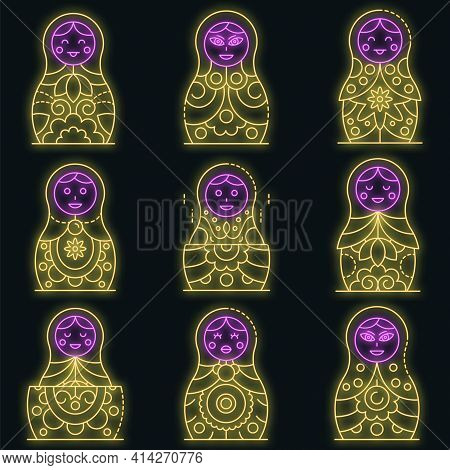 Nesting Doll Icons Set. Outline Set Of Nesting Doll Vector Icons Neon Color On Black