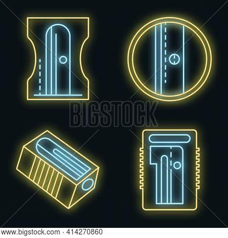 Sharpener Icons Set. Outline Set Of Sharpener Vector Icons Neon Color On Black