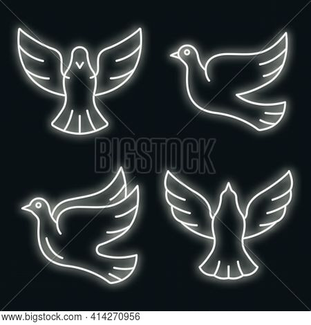 Dove Icons Set. Outline Set Of Dove Vector Icons Neon Color On Black