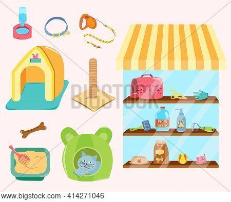Pet Shop With Window. Store Of Pets Care Accessories. Collection Of Isolated Pets Elements. Food, Be
