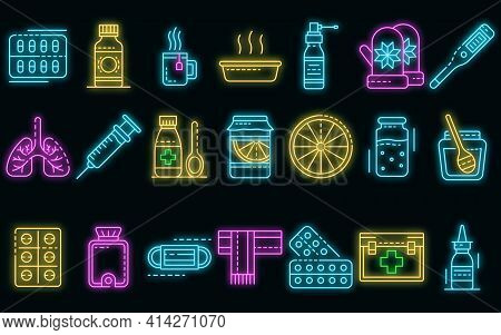 Flu Sick Icons Set. Outline Set Of Flu Sick Vector Icons Neon Color On Black