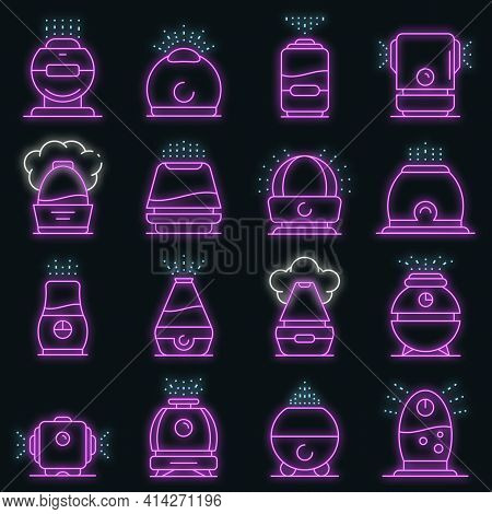 Humidifier Icons Set. Outline Set Of Humidifier Vector Icons Neon Color On Black