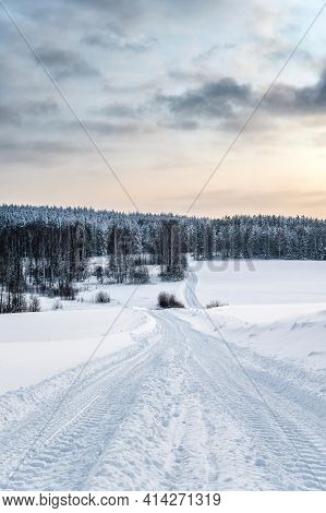 Winter Landscape, Road In Forest After Snowfall And North Nature