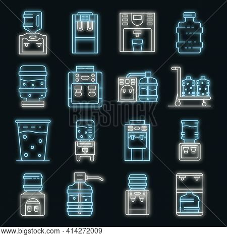 Cooler Water Icons Set. Outline Set Of Cooler Water Vector Icons Neon Color On Black