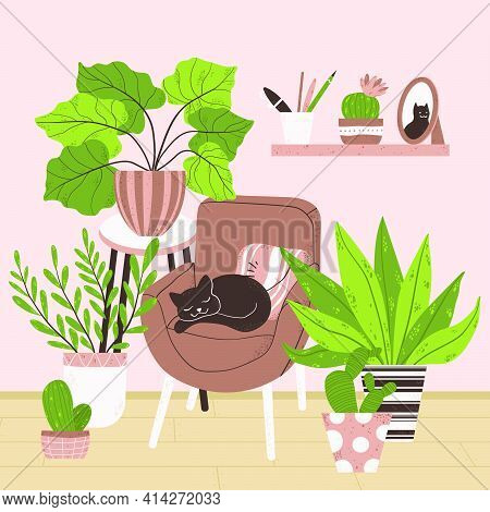 Cozy Interior Of Living Room In Scandinavian Cartoon Style. Concept Stay At Home. Design Of A Cozy R