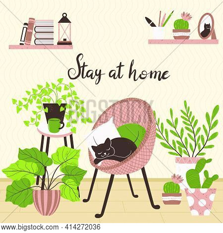 Cozy Interior Of Living Room In Scandinavian Cartoon Style. Concept With Text Stay At Home. Design O