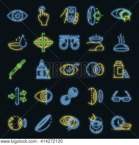 Contact Lens Icons Set. Outline Set Of Contact Lens Vector Icons Neon Color On Black