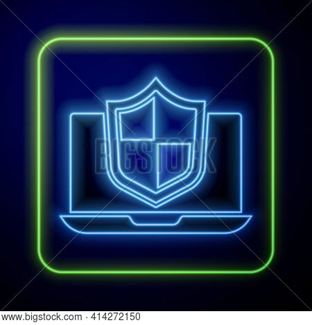 Glowing Neon Laptop Protected With Shield Icon Isolated On Blue Background. Pc Security, Firewall Te