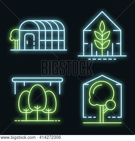 Greenhouse Icons Set. Outline Set Of Greenhouse Vector Icons Neon Color On Black