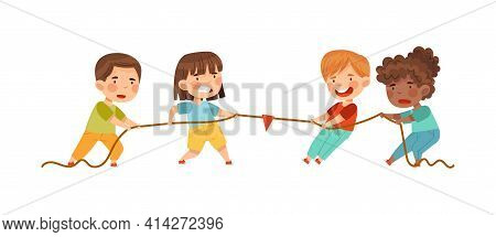 Little Boy And Girl Playing Tug Of War Or Rope Pulling Testing Strength Vector Illustration