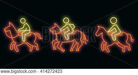 Horseback Riding Icons Set. Outline Set Of Horseback Riding Vector Icons Neon Color On Black