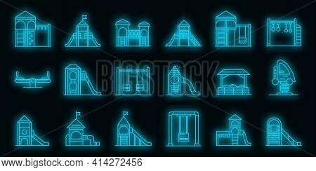 Kid Playground Icons Set. Outline Set Of Kid Playground Vector Icons Neon Color On Black