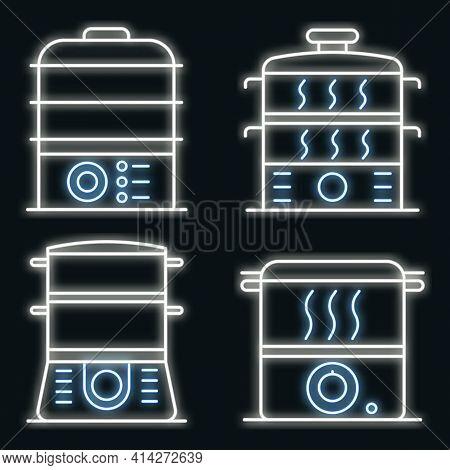 Steamer Icons Set. Outline Set Of Steamer Vector Icons Neon Color On Black