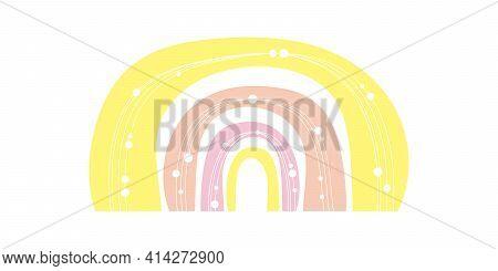 Hand Drawn Colored Minimalist Boho Rainbow With Lines,dots. Boho Nursery Rainbow Print, Children's E