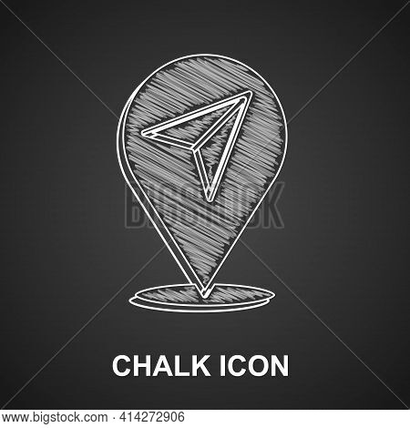 Chalk Map Pin Icon Isolated On Black Background. Navigation, Pointer, Location, Map, Gps, Direction,