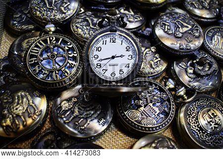 Quartz Watch, Mechanical Watch. Pocket Souvenir Watch In Vintage Style.