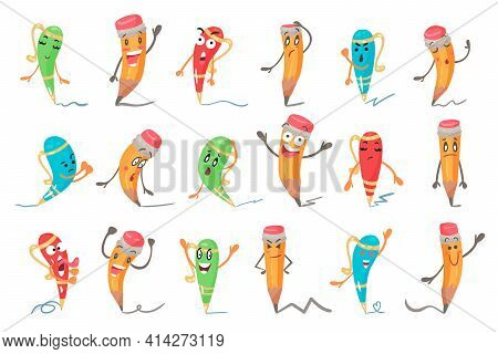 Cute Humanized Pen And Pencil Character With Arms And Face Vector Set