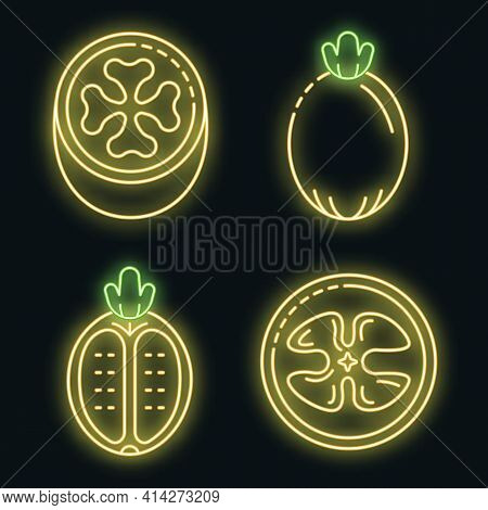 Feijoa Icons Set. Outline Set Of Feijoa Vector Icons Neon Color On Black
