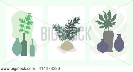 Set Of Three Minimalist Posters - Vases With Branches. Poster Composition With Various Vases And Bra