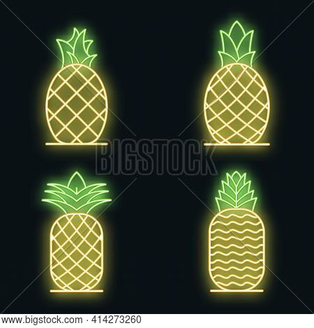 Pineapple Icons Set. Outline Set Of Pineapple Vector Icons Neon Color On Black