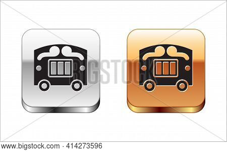Black Circus Wagon Icon Isolated On White Background. Circus Trailer, Wagon Wheel. Silver And Gold S