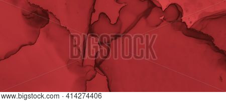 Liquid Blood Background. Red Ink Wallpaper. Halloween Splatter Black. Watercolor Maroon Pattern. Blo