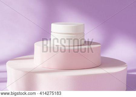 Beauty Cosmetic Cream Jar Mockup On Purple Podium Pedestal Showcase. Blank Skin Care Product Templat