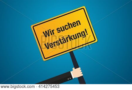We Are Hiring In German Text Application Job Work Application Flat Vector Design