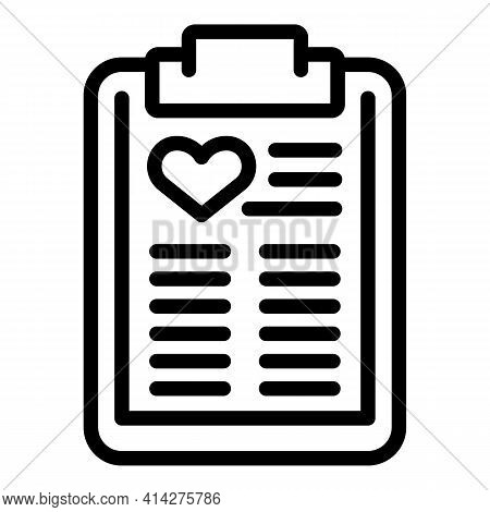 Clipboard Charity Icon. Outline Clipboard Charity Vector Icon For Web Design Isolated On White Backg
