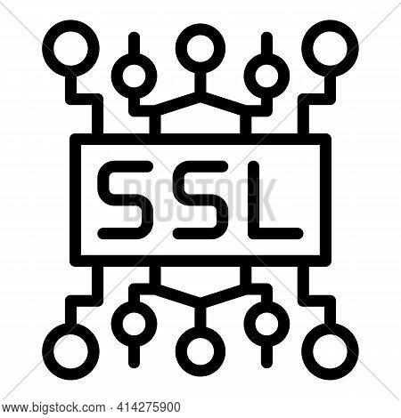 Ssl Certificate Icon. Outline Ssl Certificate Vector Icon For Web Design Isolated On White Backgroun