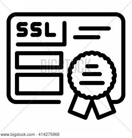 Ssl Certification Icon. Outline Ssl Certification Vector Icon For Web Design Isolated On White Backg