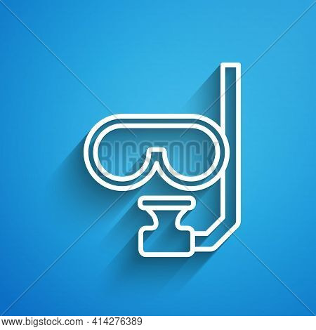 White Line Diving Mask And Snorkel Icon Isolated On Blue Background. Extreme Sport. Diving Underwate