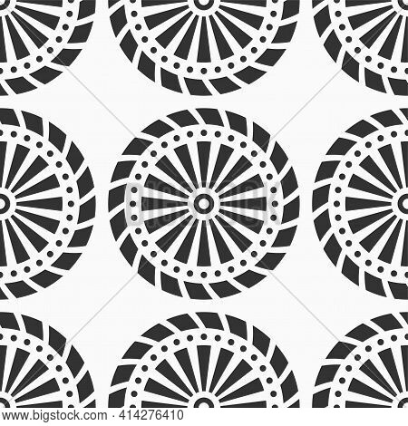 Abstract Seamless Pattern With Circle Shapes, Striped Circles, Dotted Circles. Repeating Geometric E