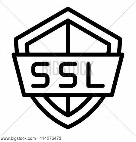 Ssl Shield Icon. Outline Ssl Shield Vector Icon For Web Design Isolated On White Background