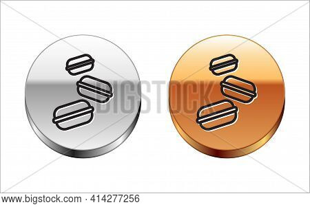 Black Line Macaron Cookie Icon Isolated On White Background. Macaroon Sweet Bakery. Silver-gold Circ