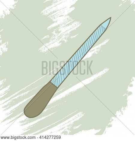 Nail File On An Artistic Colored Background. Makeup Collection. Vector.