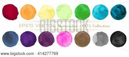 Watercolor Circle Vector. Abstract Stains Illustration. Colorful Shapes Splatter. Grunge Watercolor